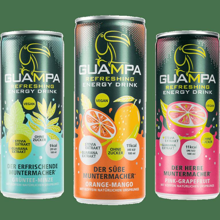 Energy Drink Guampa Dosen Sorten Pink-Grapefruit Orange-mango Grüntee-minze