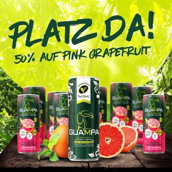 Aktion 50% auf pink grapefruit Guampa Energy Drink