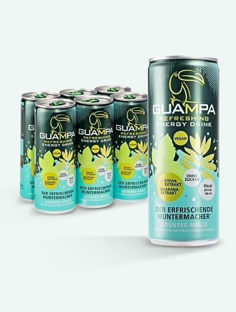 GUAMPA Energy Grüntee-Minze mit Real Stevia